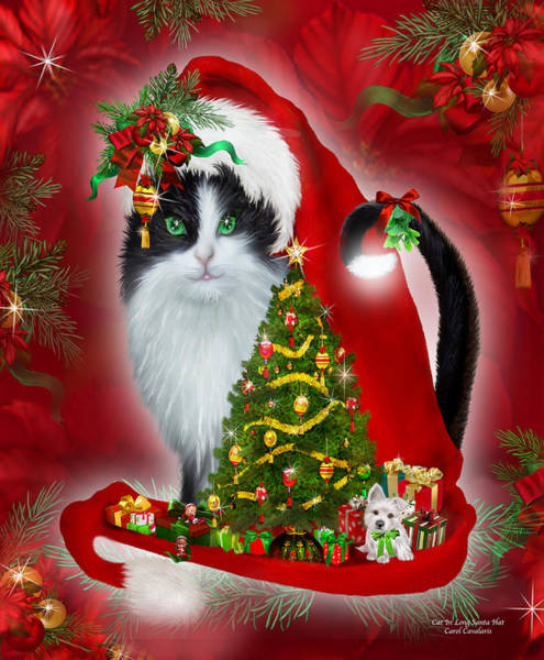 White Cat Mixed Media - Cat In Long Santa Hat by Carol Cavalaris