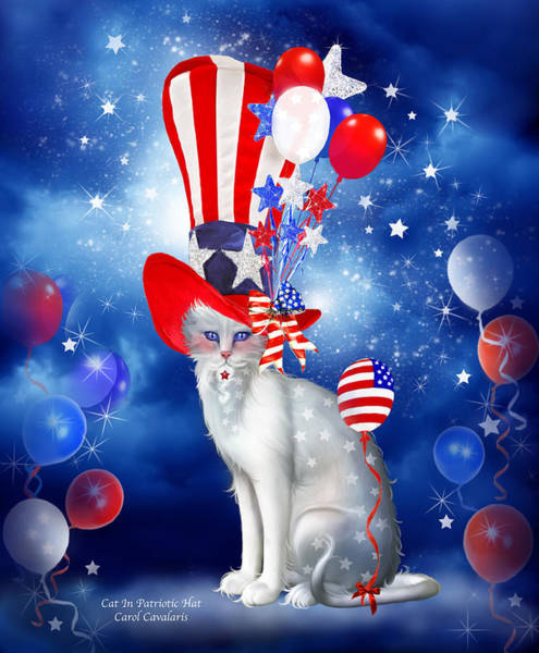 White Cat Mixed Media - Cat In Patriotic Hat by Carol Cavalaris