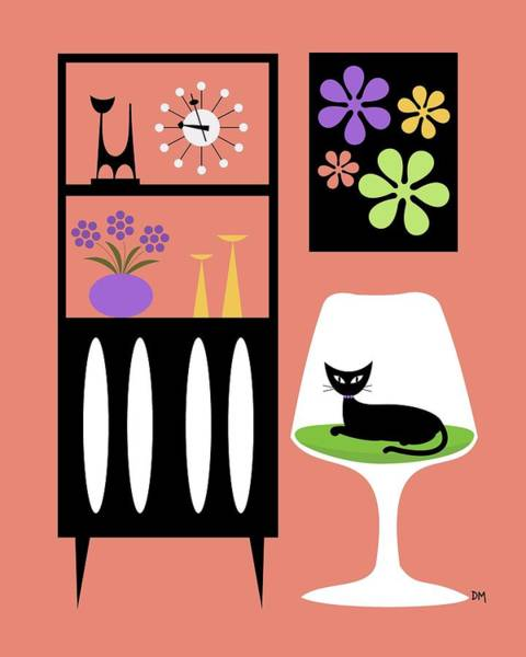 Digital Art - Cat In Pink Room by Donna Mibus