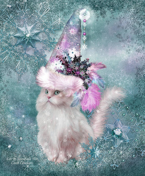 White Cat Mixed Media - Cat In Snowflake Hat by Carol Cavalaris