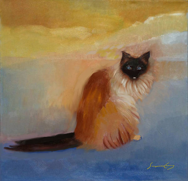 Painting - Cat In Surreal Landscape by Suzanne Cerny