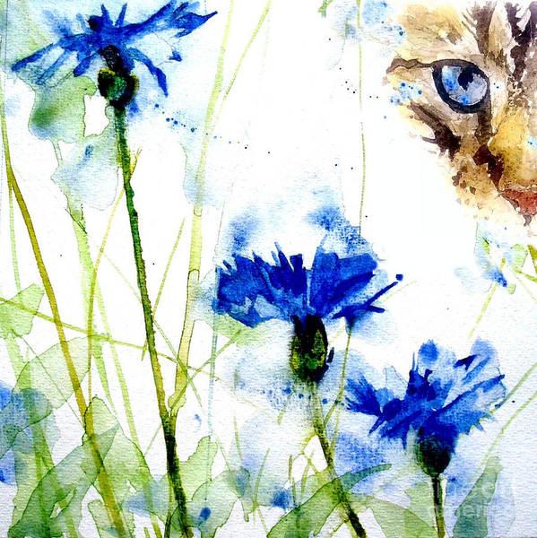 Feline Wall Art - Painting - Cat In The Cornflowers by Paul Lovering