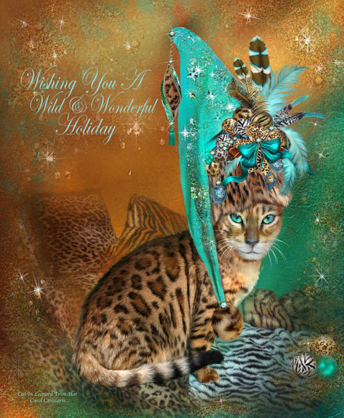 Mixed Media - Cat In The Leopard Trim Santa Hat by Carol Cavalaris
