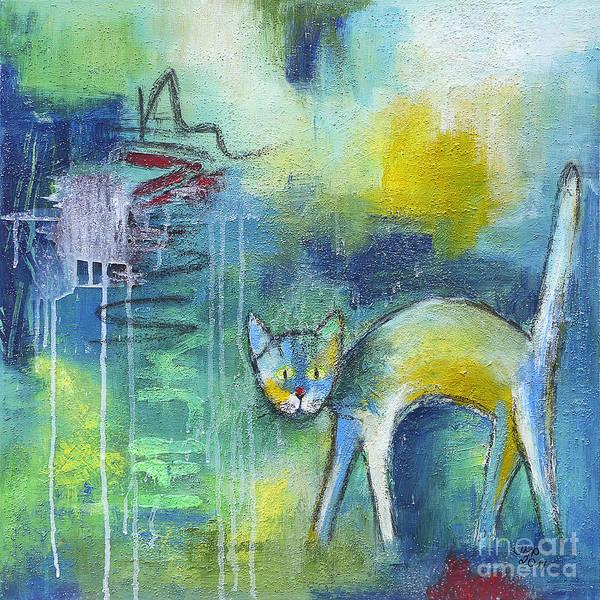 Wall Art - Painting - Cat In The Rain by Jutta Maria Pusl