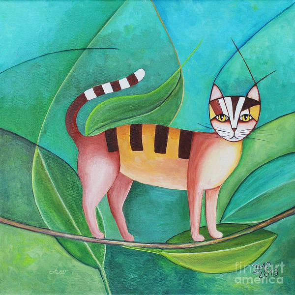Wall Art - Painting - Cat In The Tree by Jutta Maria Pusl