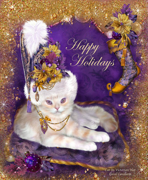White Cat Mixed Media - Cat In Victorian Santa Hat by Carol Cavalaris