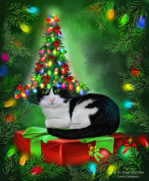 White Cat Mixed Media - Cat In Xmas Tree Hat by Carol Cavalaris