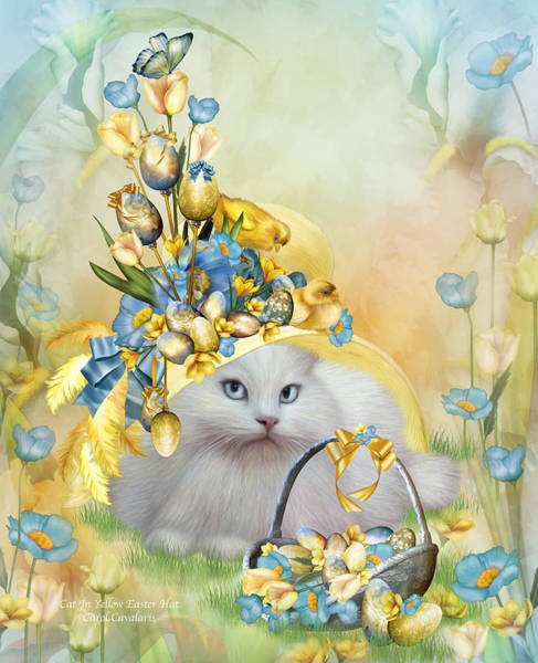 White Cat Mixed Media - Cat In Yellow Easter Hat by Carol Cavalaris