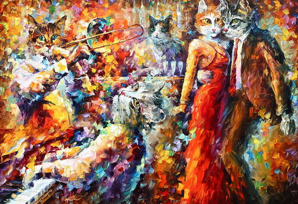 Piano Player Painting - Cat Jazz Club by Leonid Afremov