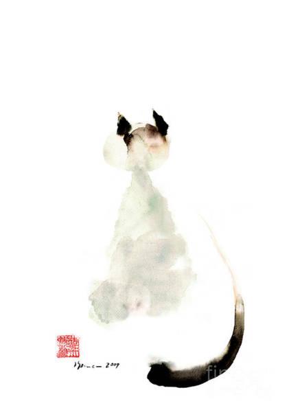 Gift Shops Painting - Cat Little Kittlen Syjamese White Cappuccino Black Grey Brown Meow Watercolor Painting by Johana Szmerdt