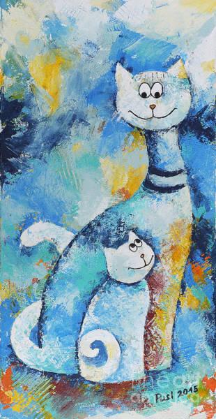 Wall Art - Painting - Cat Mommy by Jutta Maria Pusl