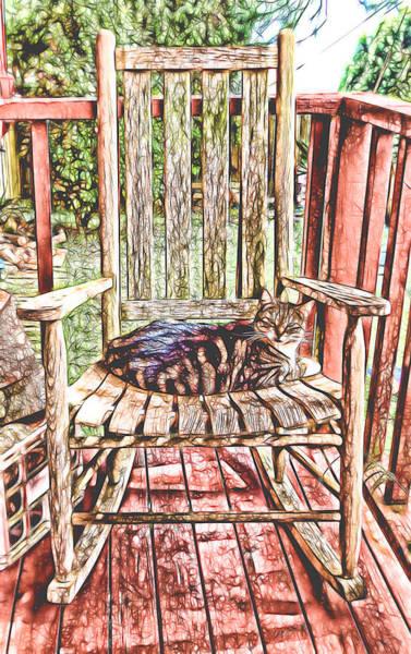 Mixed Media - Cat Nap Interrupted by Pamela Walton