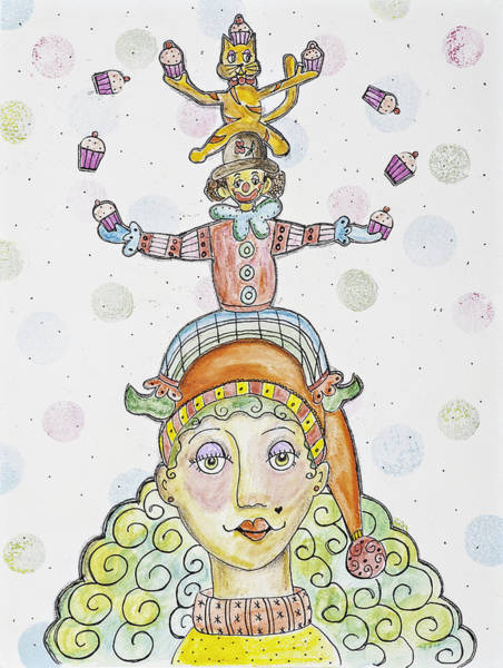 Circus Clown Painting - Cat On A Hat by Lynn Colwell