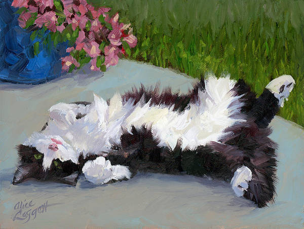 Kitty Painting - Cat On A Hot Day by Alice Leggett