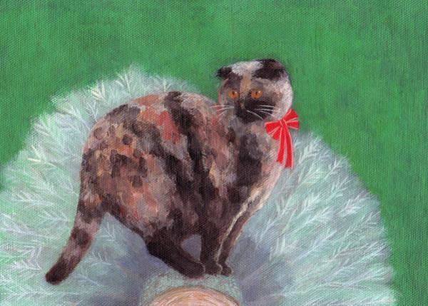 Painting - Cat On Christmas Tree by Kazumi Whitemoon