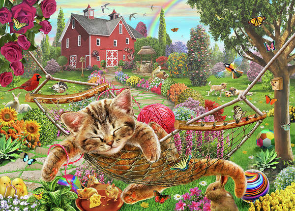 Wall Art - Painting - Cat On The Farm  by MGL Meiklejohn Graphics Licensing