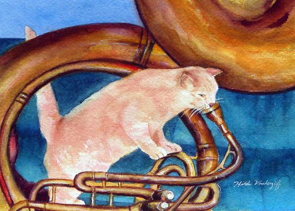 Painting - Cat On Tuba by Hilda Vandergriff