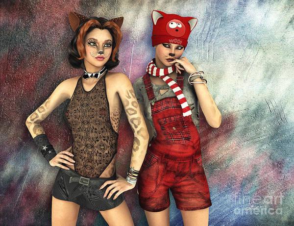 Digital Art - Cat Sisters by Jutta Maria Pusl