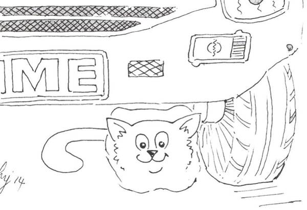 Drawing - Cat Under Parked Car Cartoon by Mike Jory
