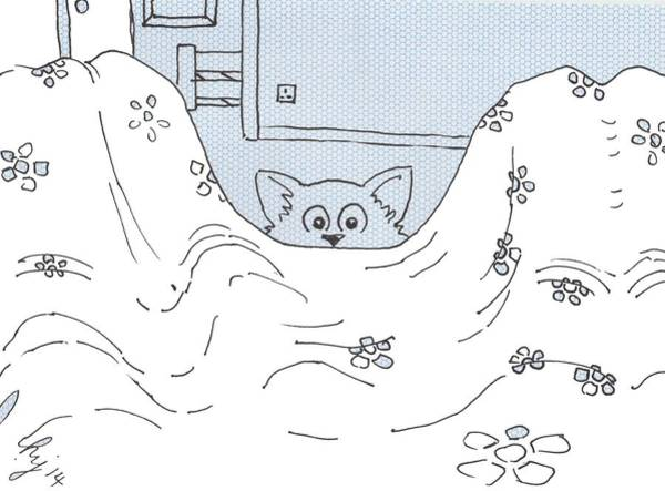 Drawing - Cat Wants To Get In Bed Cartoon by Mike Jory