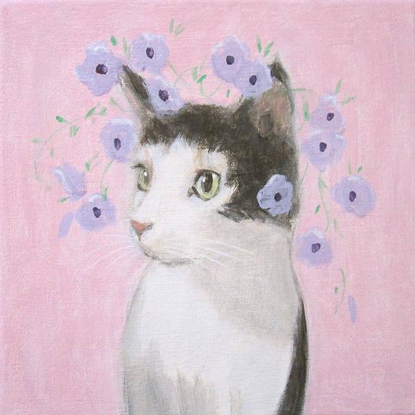 Cat With Purple Flowers Art Print