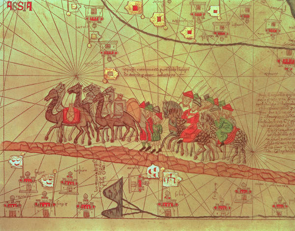 Wall Art - Drawing - Catalan Atlas, Detail Showing The Family Of Marco Polo 1254-1324 Travelling By Camel Caravan, 1375 by Spanish School