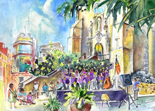 Spanish People Drawing - Catalonia Day In Llansa by Miki De Goodaboom