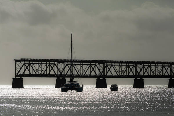 Photograph - Catamaran Anchored At Old Bahia Honda Bridge by Ed Gleichman