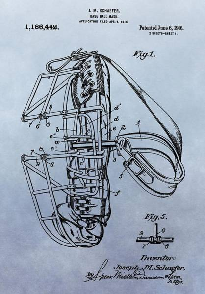 Wall Art - Digital Art - Catcher's Mask Patent by Dan Sproul