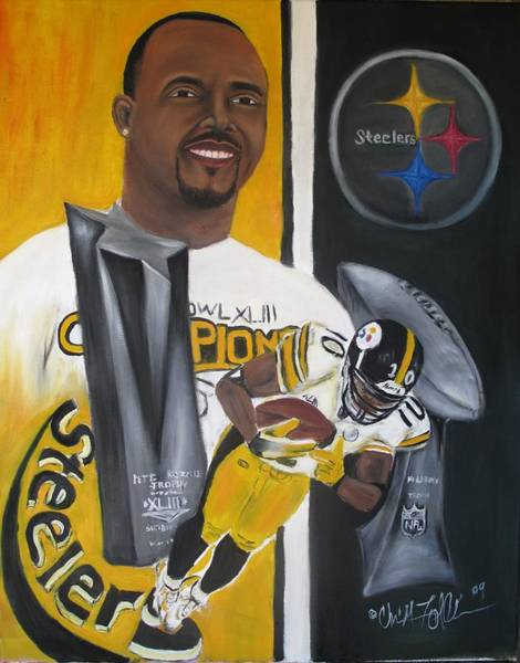 Santonio Holmes Painting - Catching Six by ChrisMoses Tolliver
