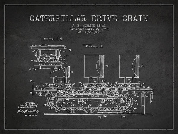 Patent Drawing Wall Art - Digital Art - Caterpillar Drive Chain Patent From 1952 by Aged Pixel