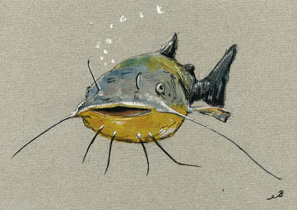 Fishing Painting - Catfish by Juan  Bosco