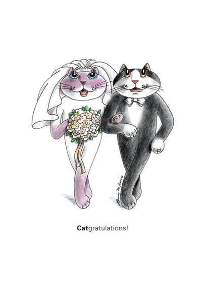 Pussycat Drawing - Catgratulations by Louise McClain Reeves