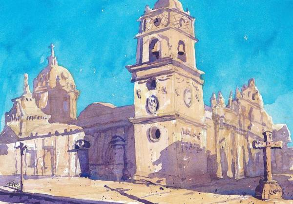 Painting - Cathedral 03   Granada   Nicaragua by Cameron Berglund