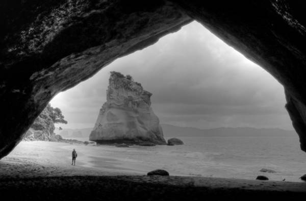Wall Art - Photograph - Cathedral Cove Monochrome by Peter Mooyman