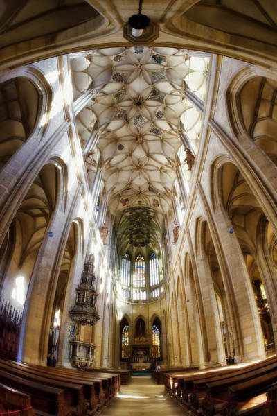 Fish Eye Lens Photograph - Cathedral Glow by Joan Carroll