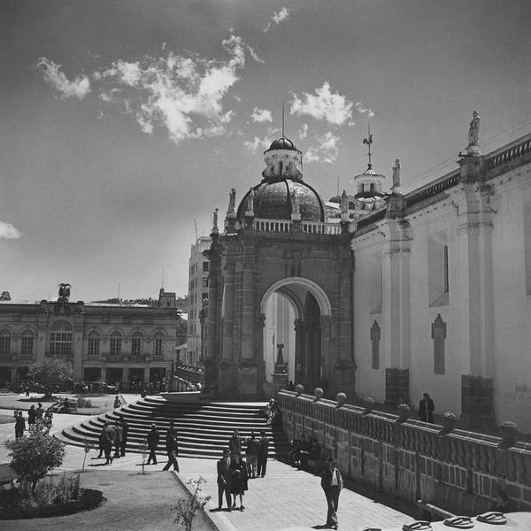 Urban Scene Photograph - Cathedral In Plaza Mayor by Horst P. Horst