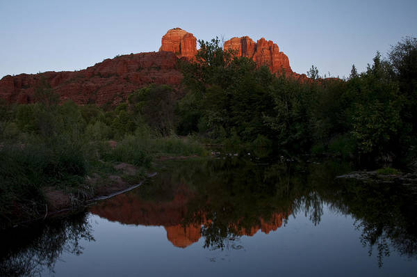 Photograph - Cathedral Rock Sunset Reflection 1 by Lee Kirchhevel