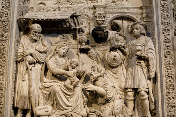 Photograph - Cathedral Wall Nativity Sculpture by Lorraine Devon Wilke