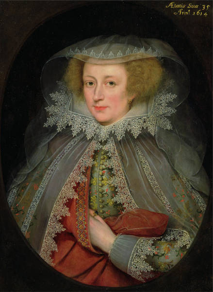 Wall Art - Painting - Catherine Killigrew, Lady Jermyn Dated In Yellow Paint by Litz Collection