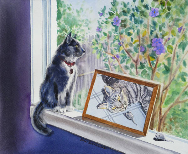 Window Frame Painting - Cats And Mice Sweet Memories by Irina Sztukowski