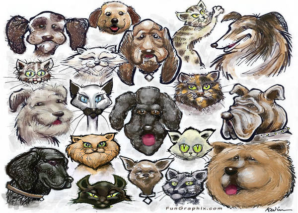 Digital Art - Cats N Dogs by Kevin Middleton