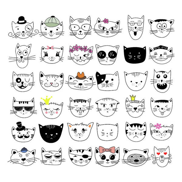 Cute Digital Art - Cats, Set Of Cute Doodle by Alona Savchuk