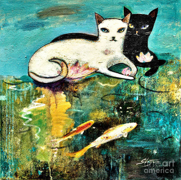 Painting - Cats With Koi by Shijun Munns