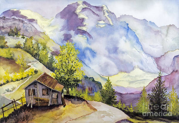 Catskills Painting - Catskill Mountains Water Color By Fran Langer by Sheldon Kralstein