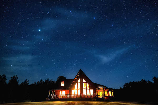Catskills Photograph - Catskills Milky Way Over Cabin by Geoffrey Baker