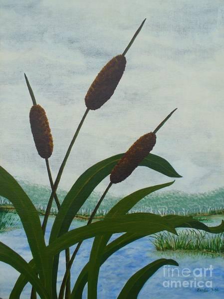Bullrush Painting - Cattails by Lori Ziemba