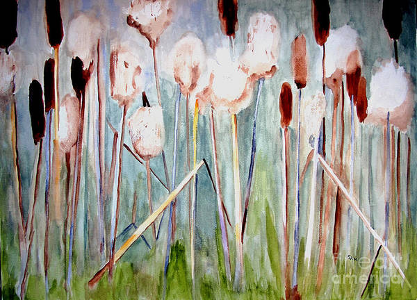 Bullrush Painting - Cattails by Sandy McIntire