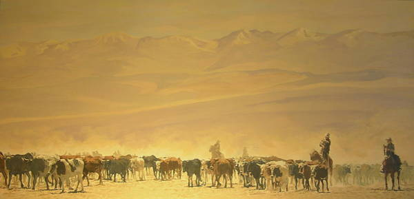 Painting - Cattle Drive by Tim  Joyner