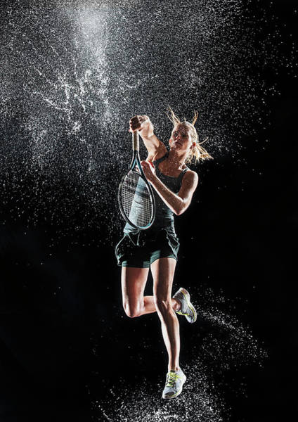 Practice Photograph - Caucasian Tennis Splashing In Water by Erik Isakson